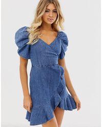 Miss Sixty Vestito di jeans svasato con fascia - Blu