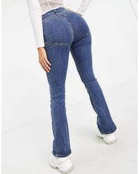 ASOS Hourglass High Rise 'lift And Contour' Flare Jeans - Blue