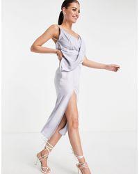 ASOS - Платье-комбинация Миди С Драпировкой Спереди И Юбкой На Запахе - Lyst