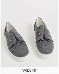 Lost Ink Wide Fit Slip On Trainer In Grey