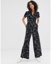 Finery London - Alida Abstract Faces Print Jumpsuit - Lyst
