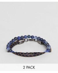 Simon Carter - Sodalite Beaded Bracelet With Skull Charm & Navy Leather Bracelet In 2 Pack - Lyst