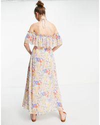 Mango Vestido largo multicolor con estampado floral