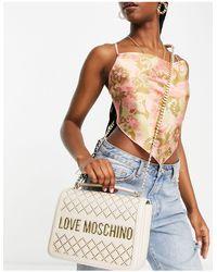 Love Moschino Сумка На Плечо Цвета Слоновой Кости С Имитацией Стеганой Фактуры И Логотипом -белый