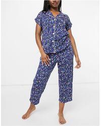 Lauren by Ralph Lauren Notch Collar Capri Pyjamas - Blue