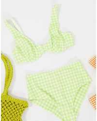 Monki Minelli Recycled Polyester Gingham Print Wired Bikini Top - Green