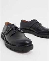 H by Hudson Zapatos con cordones y hebilla en negro cuero axel