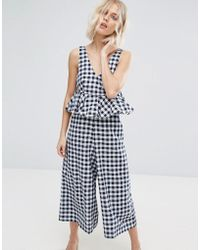Lost Ink Frill Jumpsuit In Gingham - Blue