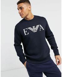 Emporio Armani Темно-синий Свитшот С Круглым Вырезом И Логотипом Eva
