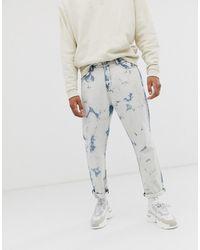 Liquor N Poker - Cropped Straight Leg Jeans In Bleach Wash - Lyst