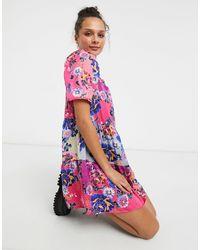 Liquorish Розовое Свободное Платье Мини С Пышными Рукавами И Цветочным Принтом -розовый Цвет