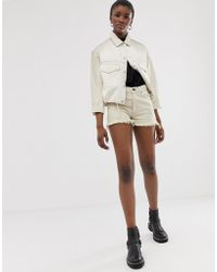 Cheap Monday Organic Cotton Relaxed Fit Short With Raw Hem - White