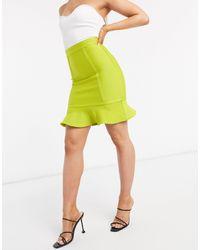 The Girlcode Minigonna attillata lime - Verde