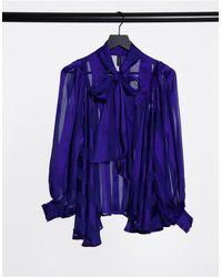 Y.A.S - Полупрозрачная Блузка С Бантом Кобальтово-синего Цвета -голубой - Lyst