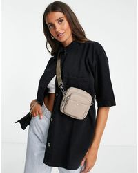 TOPSHOP Recycled Nylon Square Cross Body Bag - Brown