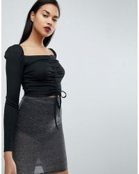 Fashion Union - Long Sleeve Crop Top With Ruched Ribbon Tie Front - Lyst