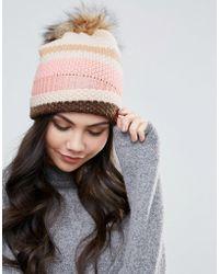 Alice Hannah - New Moss Stitch Fur Trim Beanie Hat - Lyst