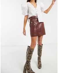 Object Leather Mini Skirt - Brown
