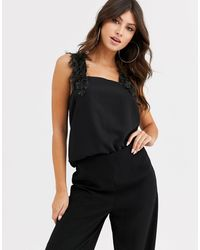 ASOS Square Neck Cami With Faux Feather Straps - Black
