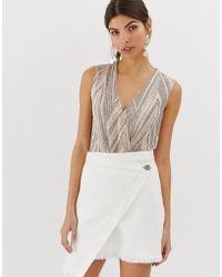 Y.A.S Esther Wrap Sleeveless Bodysuit - Multicolour