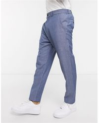 Esprit Linen Cropped Pants - Blue