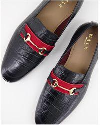 Walk London Черные Лоферы С Крокодиловым Принтом Raphael Bar-черный Цвет