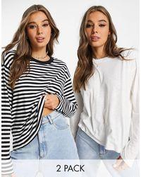 Monki Maja 2 Pack Organic Cotton Long Sleeve T-shirt - White