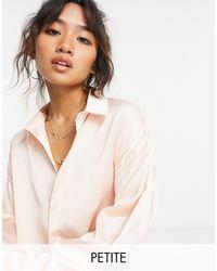 Missguided - Нежно-розовая Атласная Oversized-рубашка -розовый Цвет - Lyst