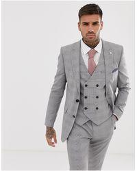 Burton Giacca da abito skinny grigio a quadri - Neutro
