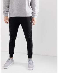 Jack & Jones Intelligence - Jogger coupe skinny en molleton avec logo - Noir