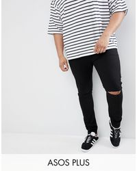 ASOS - Plus Super Skinny Jeans With Knee Rips - Lyst