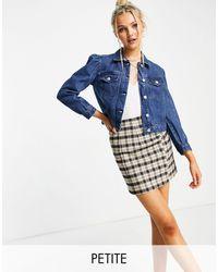 Miss Selfridge Petite Puff Sleeve Denim Jacket-blue