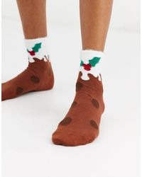 ASOS Christmas Pudding Ankle Socks - Brown