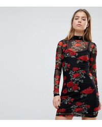 Noisy May Petite - Mesh Dress With Rose Print - Lyst