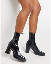 ASOS - Черно-белые Кожаные Ботинки На Платформе - Lyst