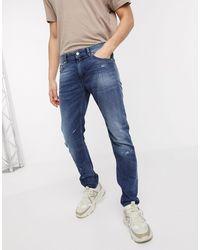 Love Moschino Jean slim effet usé - Bleu