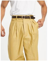 ASOS High Waist Slim Smart Trouser - Yellow
