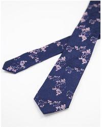 TOPMAN Corbata con estampado floral - Azul