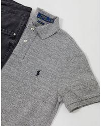 Polo Ralph Lauren – Schmal geschnittenes Pikee-Polohemd - Grau