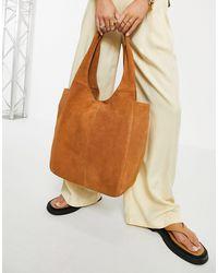 ASOS – große, eckige shopper-tasche aus wildleder - Braun