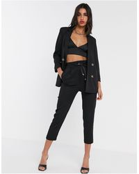 Stradivarius Relaxed Tailored Pant With Belt - Black