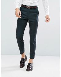 French Connection - Skinny Suit Trouser In Bottle Green - Lyst