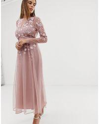 ASOS Vestido midi de manga larga con bordado - Rosa