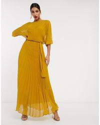 ASOS Плиссированное Платье Макси С Поясом И Пышными Рукавами На Манжетах - Желтый