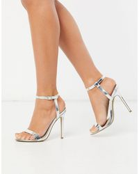 Missguided Barely There Heeled Sandals - Metallic