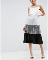 ASOS - Colourblock Metallic Pleated Midi Skirt - Lyst