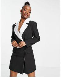 UNIQUE21 Contrast Double Breasted Blazer - Black