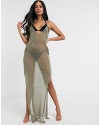 South Beach Полупрозрачное Трикотажное Платье Макси -золотистый - Металлик
