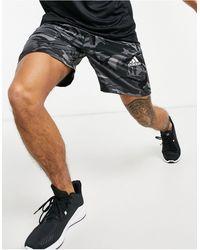 adidas Originals Спортивные Шорты Серого Цвета С Камуфляжным Принтом Adidas Training-зеленый Цвет - Черный