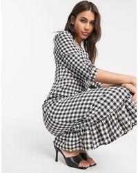 Warehouse Gingham Square Neck Peplum Dress - Black